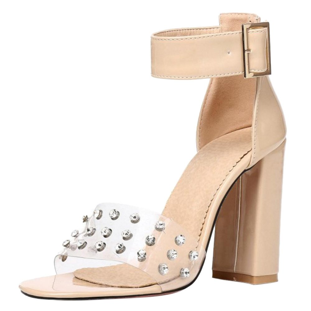 TAOFFEN Damen High Heels Sandalen Party Schuhe  38 EU|Apricot