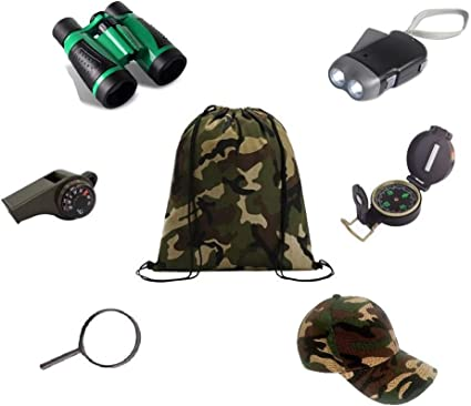Amazon Com Kids Backyard Outdoor Exploration Kit 7 Pieces Military Style Adventure Explorer Kid Survival Kits Camping Gear Hiking Preschool Educational Toys For Boys And Girls Summer Camp Toys Games