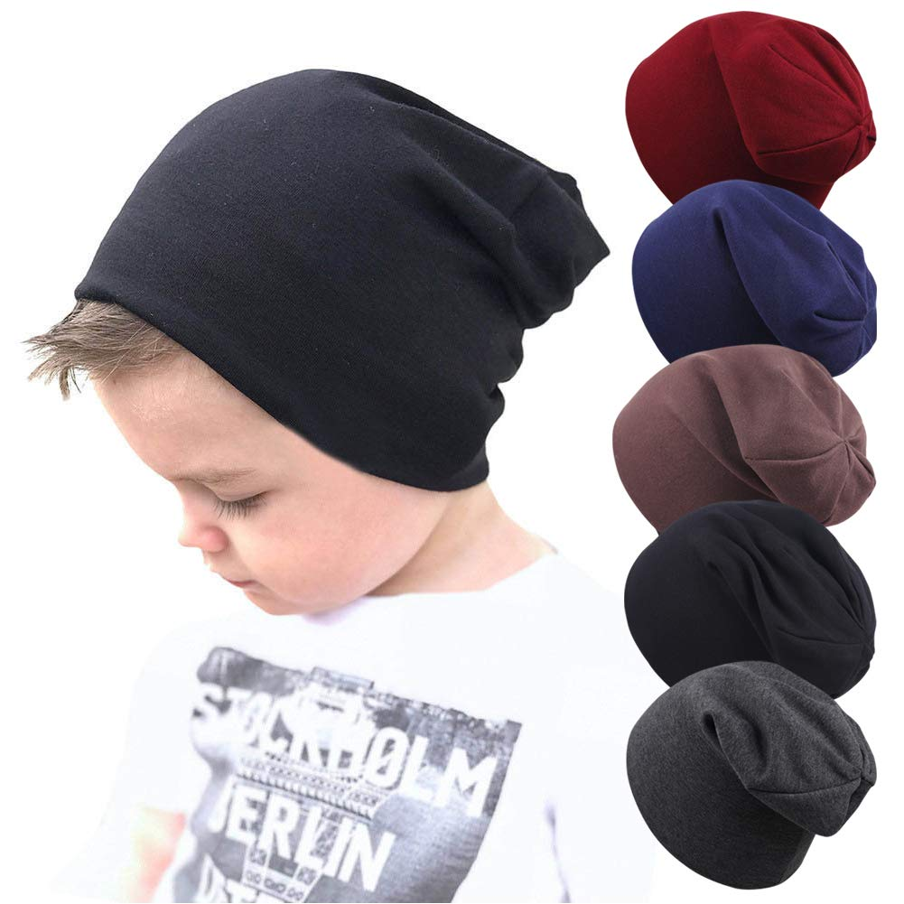 Wellwear 5 Pcs Baby Boy's Beanie Hats Cotton Skull Caps for Toddlers Kids 6-60 Months