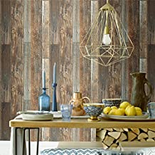 """Blooming Wall Vintage Faux Wood Wallpaper Rolls Brown Barnwood Wallpaper Murals Home Kitchen Bathroom Decoration, 20.8"""" x 374"""",Yellow Multicolor"""
