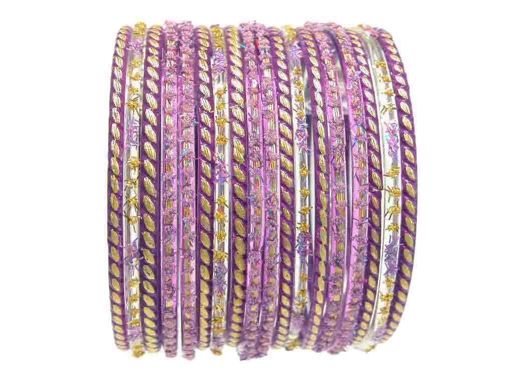 Lovely Lavender Indian Glass Bangles Bollywood Belly Dance Bracelets 2.6 S
