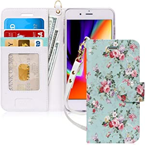 FYY Case for iPhone 8 Plus/7 Plus, [Kickstand Feature] Luxury PU Leather Wallet Phone Case Flip Folio Protective Cover with [Card Holder][Wrist Strap] for iPhone 7 Plus/8 Plus (5.5