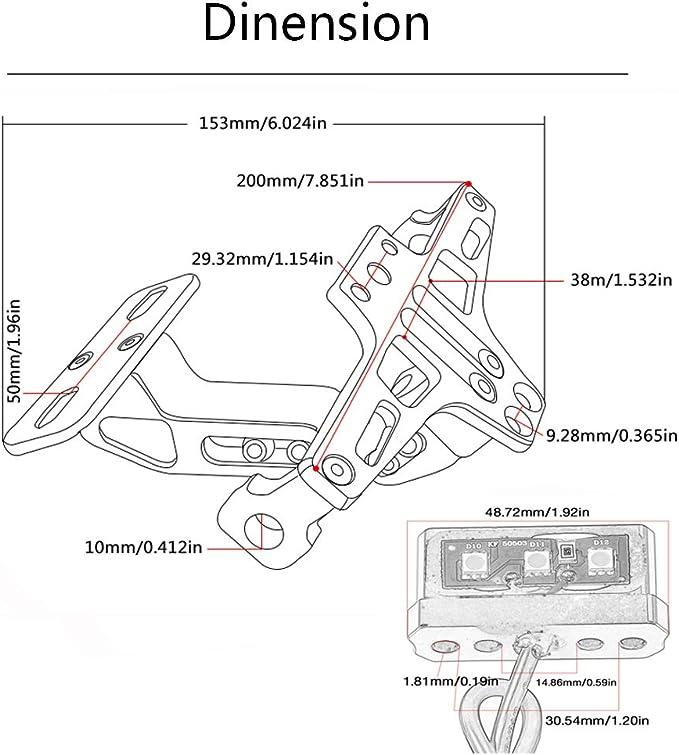 Red Motorcycle Universal LED Light License Plate Bracket Fender Eliminator for MT01 MT03 MT07 MT09 T-max 500 T-max 530 S1000R S1000XR R1200RS Z750 Z750R CBR 125R 150R 250R