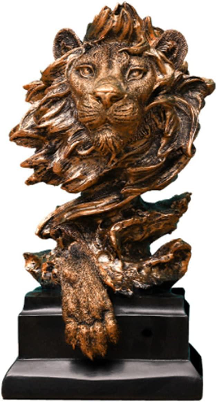 Resin Lion Statue Sculpture Ornament Collectible Figurine Craft Furnishing for Home Décor Farm House Living Room Porch Decoration Office Desk Desktop Gift