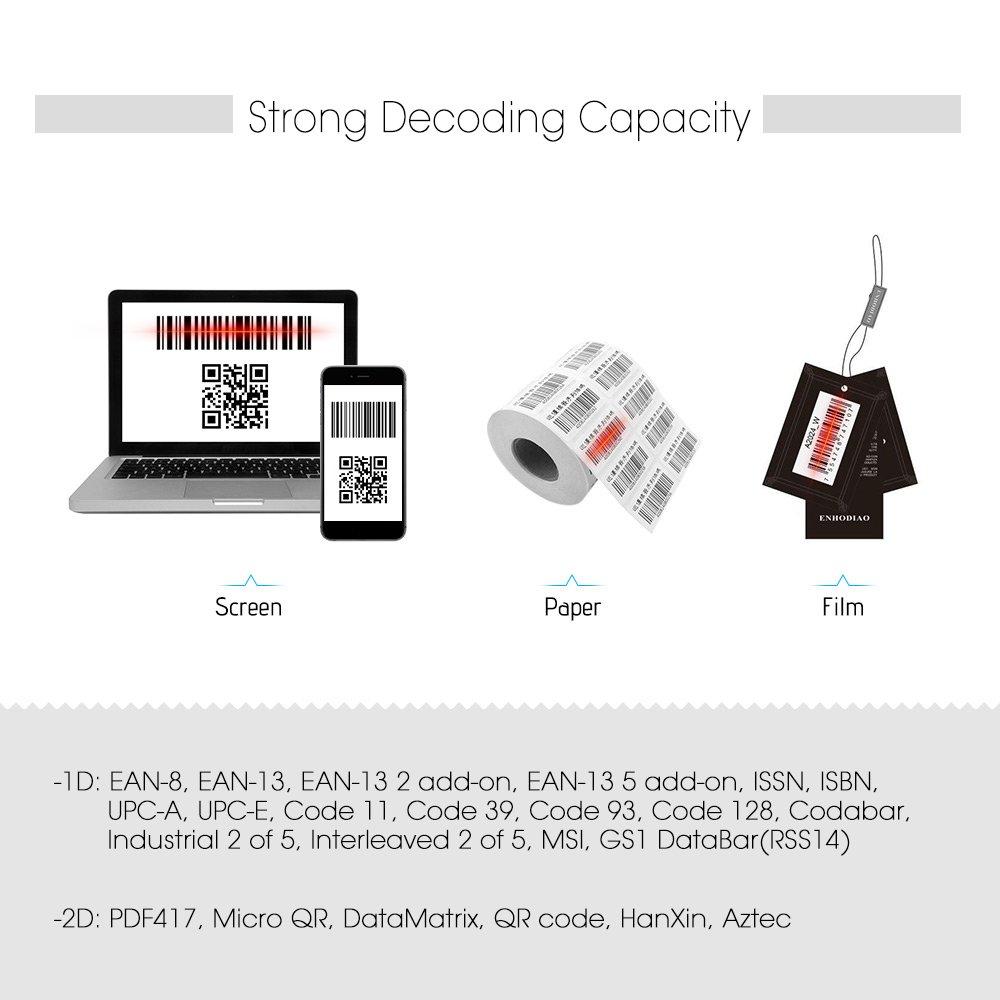 Aibecy Mini Scanner de codes-barres Sans Fil USB Filaire 1D 2D QR PDF417 Lecteur de Codes Barre 130 000 M/émoire dInventaire Multi-Langues pour Windows Mac Android iPad Linux