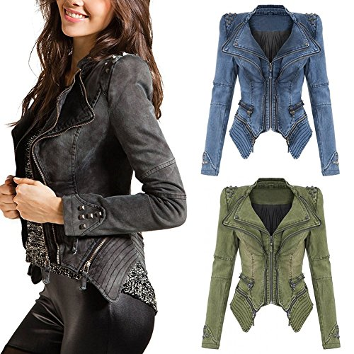 Top Pads Jacket Cappotto Sexy Spalla Clubwear Vintage E Roccia Costellato Blazer Denim Juleya Giacca Corto Cerniera Punk Giacche Verde Donna Con Cv1FxqwnZU