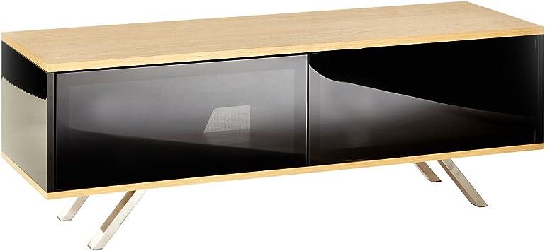 Mueble de soporte de TV negro con roble, para televisores LED, LCD, PLASMA, 4 K, pantalla