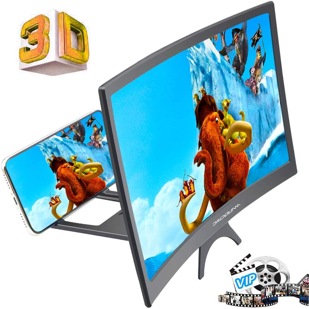 """DRIDOUAM 12"""" HD Curved Phone Screen Magnifier HD Amplifier Projector Magnifing Screen Enlarger for Movies, Videos, and Gaming with Foldable Stand Compatible with All Smartphones"""