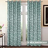 Blackout Window Curtain Panel Grommet Top Drapes 1 Panel Set Room Darkening Thermal Insulated Blackout Curtain for Bedroom / Living Room (W52 x L84, Country Aqua Floral)