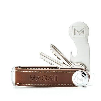 MAGATI Key Organizer Schlüsseletui aus echtem Leder mit Schlüsselfund-Service, Einkaufswagenlöser, Flaschenöffner und Profilt