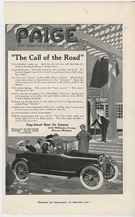 1916 Paige Detroit Motor Car Company Advertisement Merchandise & Memorabilia Advertising-print