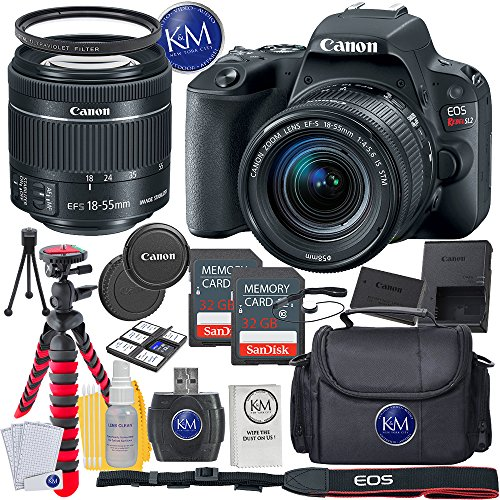Canon 3 Inch Screen Cameras (Canon EOS Rebel SL2 DSLR Camera w/ 18-55mm Lens + 2 x 32GB Card + Basic Photo Accessory Bundle)