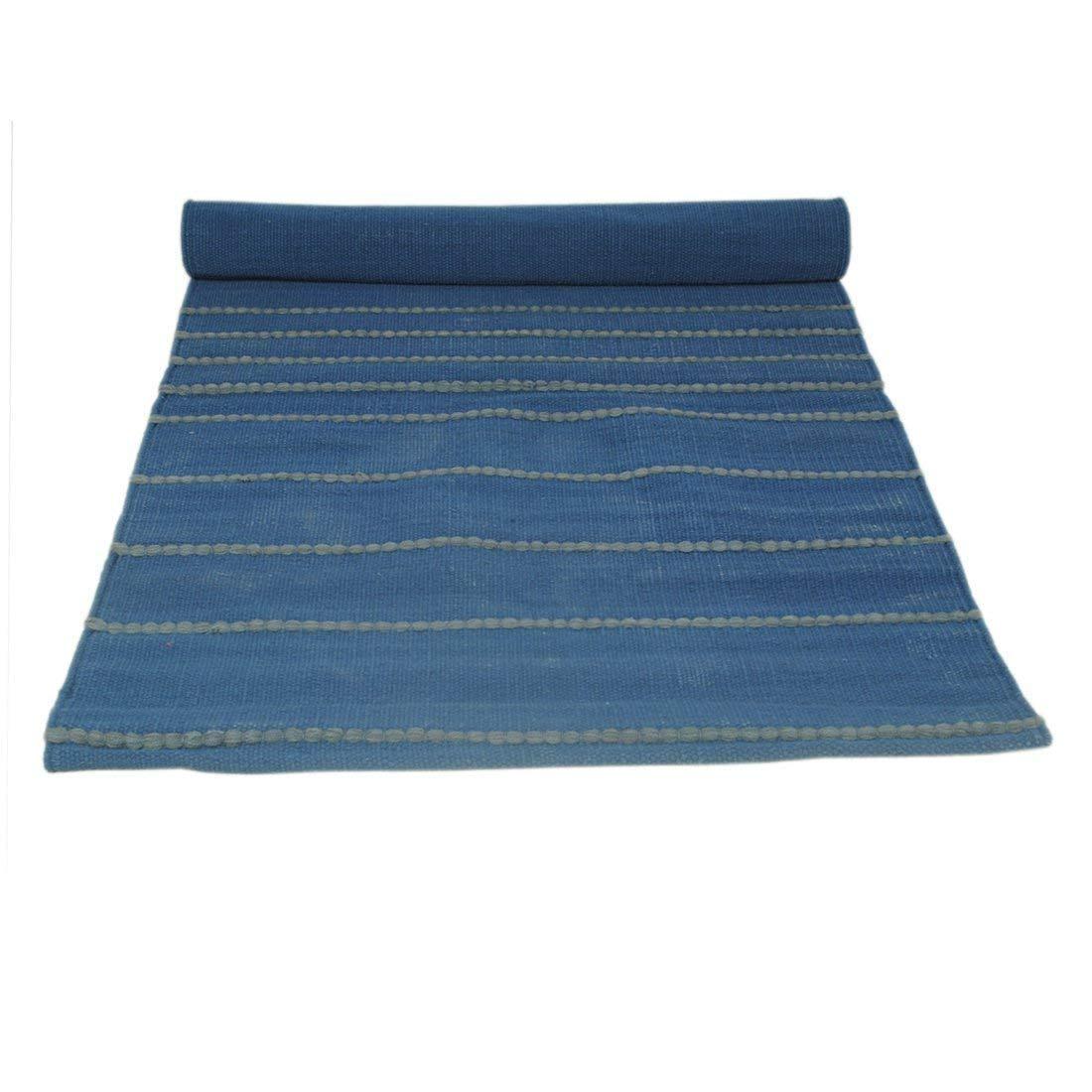 Organic cotton mat for Yoga, Pilates, Fitness, and Meditation - Blue