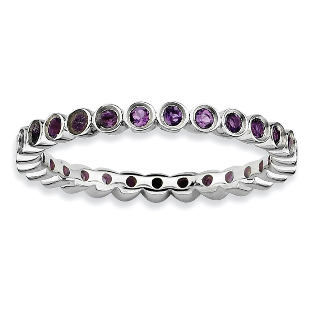 Sterling Silver Eternity Ring Solid Polished Rhodium 2.25 mm 2.25 mm Stackable Expressions Amethyst Ring