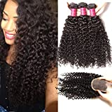 Ali Julia Hair 10A Malaysian Virgin Curly Hair Weft 3-pack Bundles with 1PC 4x4 Lace closure Unprocessed Human Hair Extensions Natural Color (8 10 12+10 inch)