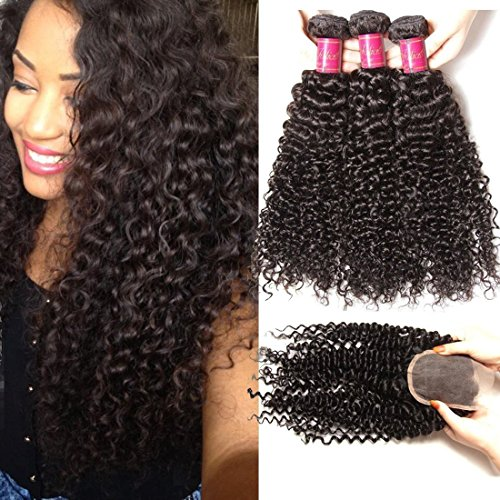 ALI JULIA Malaysian Virgin Curly Hair 3 Bundles with Free Part 4x4 Lace Closure Unprocessed Human Hair Extensions Natural Color (20 22 24+18 inch closure) by Yilian