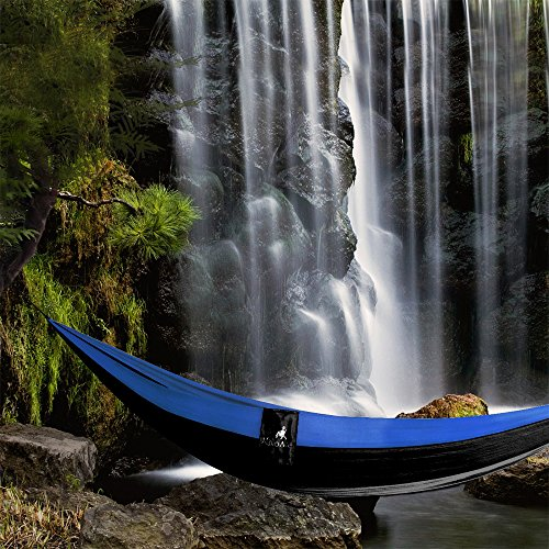 Double & Single Portable Camping Hammock – Parachute Lightweight Nylon with Hammok Tree Ropes Set- 2 Person Equipment Kids Accessories Max 1000 lbs Breaking Capacity – Free 2 Carabiners