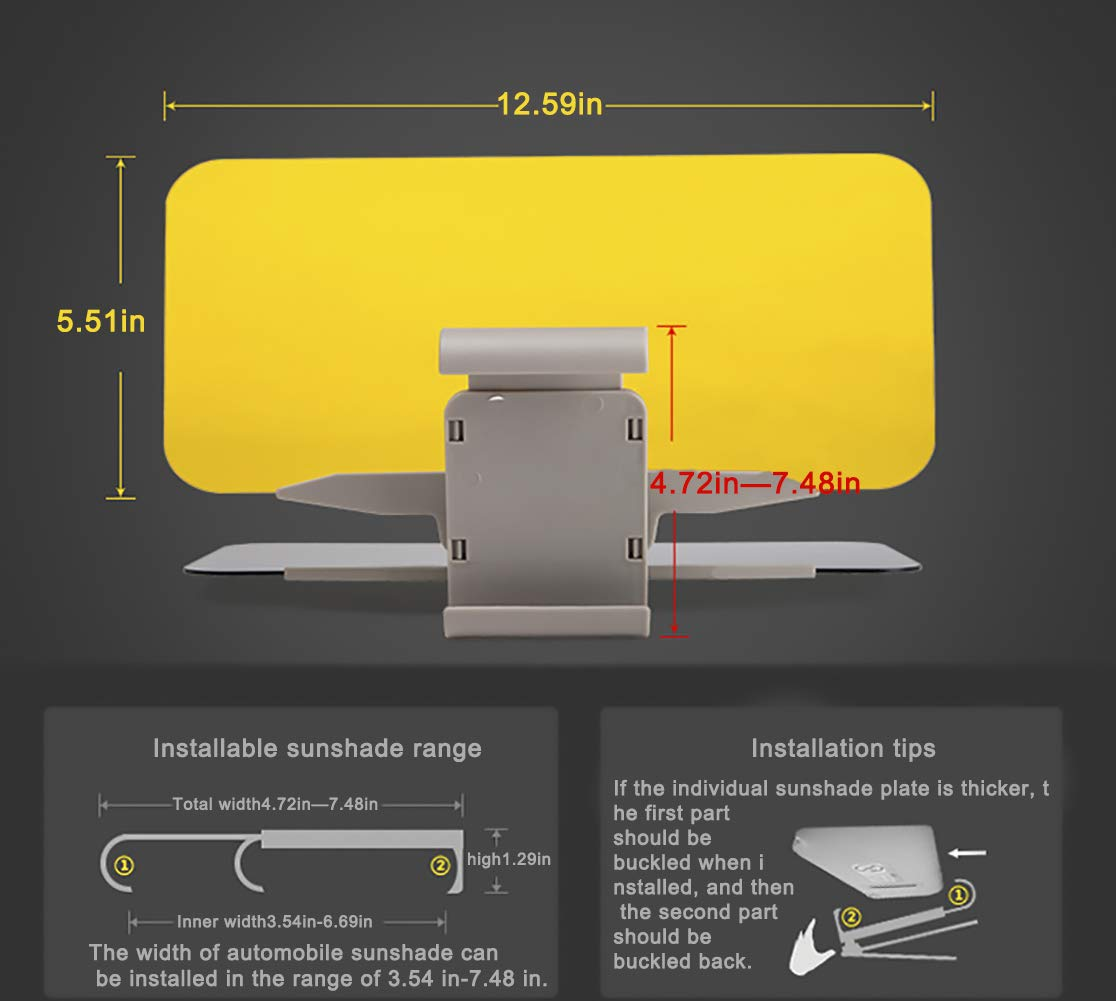 NYYINLI Universal Transparent 2 Pack Car Hd Anti-Glare Day//Night Visor Sun Sheild Tinted Lens Blocker 2 in 1 Extender Visor Sunscreen Mirror Goggles Shield