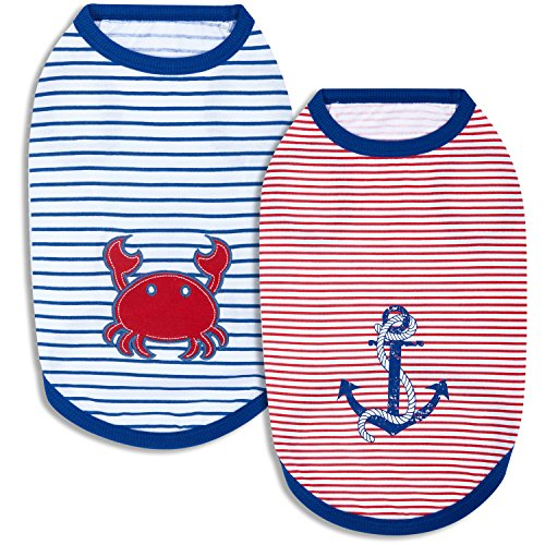 Image of Blueberry Pet Pack of 2 Soft & Comfy Sunshine Sea Lover Cotton Blend Striped Dog T Shirts Tank Top, Back Length 10