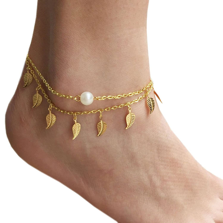 Franterd Ladies Jewelry Four-Leaf Clover Bracelet Beach Tassel Anklets