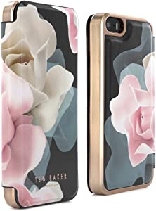 Ted Baker iPhone SE (2016) / 5S Case - Luxury Folio Case/Cover in Flower Design for Women with Built-in Interior Mirror - Porcelain Rose - Black