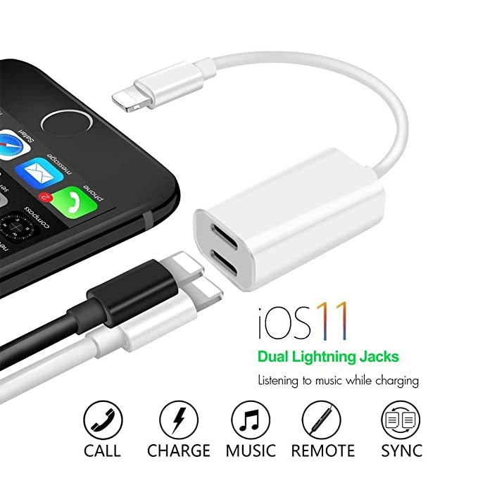 outlet store ca2aa d3499 iPhone 7 & iPhone 8 Headphone Splitter, Dual Port Charging and Headphone  Adapter, 2 in 1 Charge and Audio Listen to Music at the Same Time, Support  ...