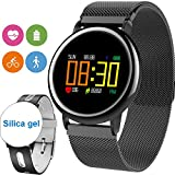 [2 Bands] Sport Fitness Tracker Smart Watch for Men Women Kids Heart Rate Blood Pressure Pedometer Sleep Monitor IP67 Waterproof Activity Tracker Swim Run Outdoor iOS Android Gifts (Black)