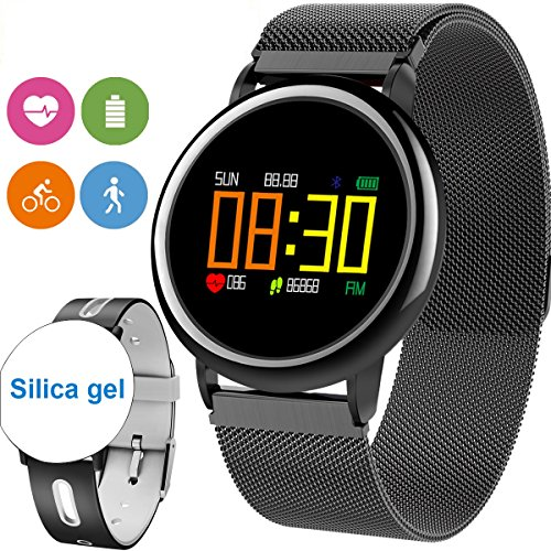[2 Bands] Sport Fitness Tracker Smart Watch for Men Women Kids Heart Rate Blood Pressure Pedometer Sleep Monitor IP67 Waterproof Activity Tracker Swim Run Outdoor iOS Android Gifts (Black) by GreaSmart