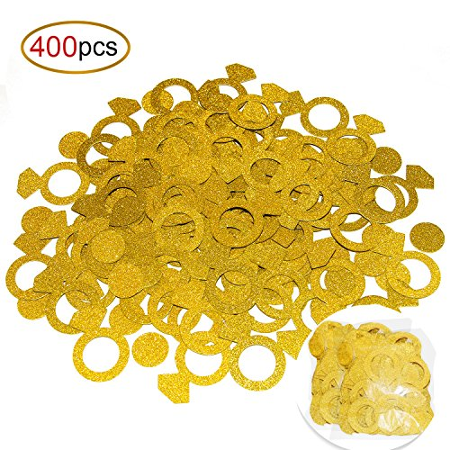 Konsait Glittery Gold Ring Confetti Set(400pcs), Wedding Party Decor Diamond Confetti Paper for Bridal Shower Engagement Bachelorette Birthday Party Decoration Table Decor (Ideas Wedding Shower)