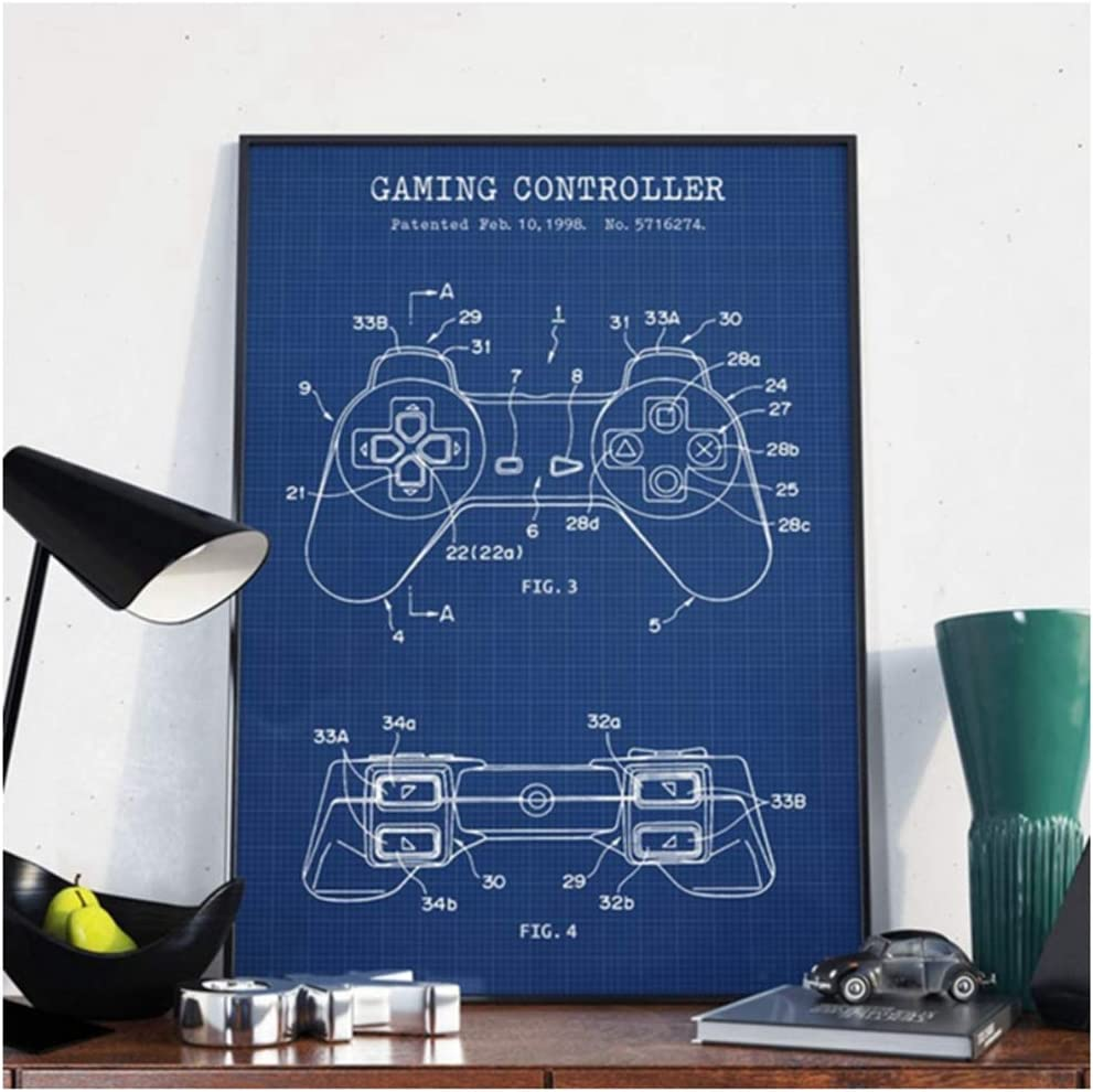 Amazon Com Unfix Gaming Controller Blueprint Canvas Painting Home Decor Pictures Modern Printed Poster For Living Room Wall Artwork 20x28 Inch No Frame 1 Pcs Posters Prints