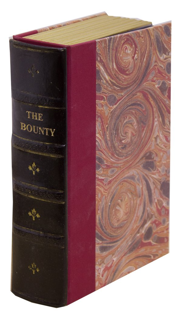 Original Book Works US125B Reproduction Antiqued Faux Leather Hidden Book Safe, ''THE BOUNTY'', Black