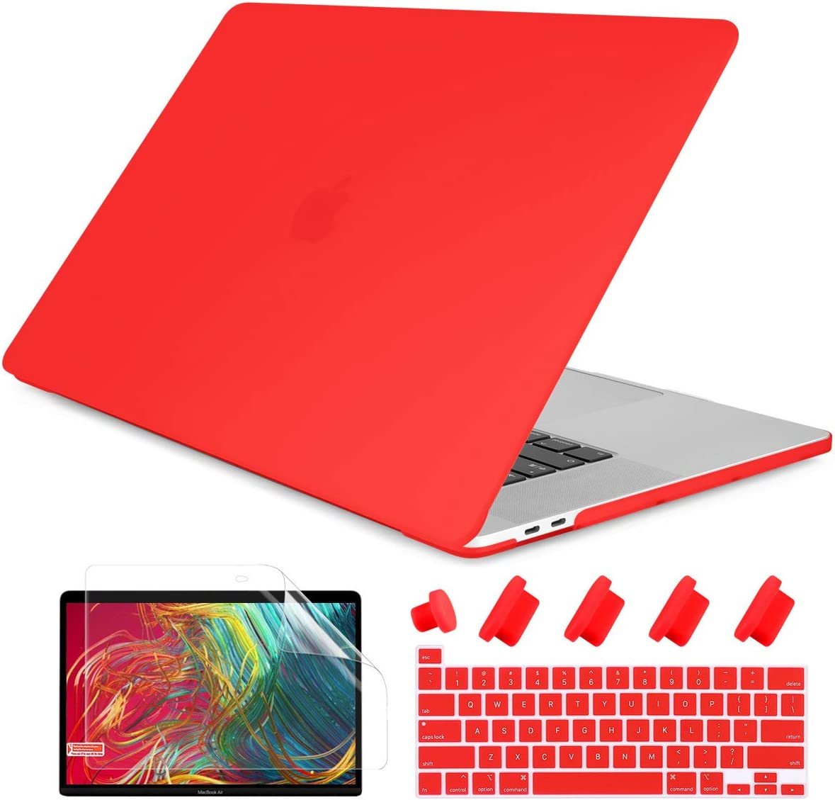 Dongke Laptop Case for Newest MacBook Pro 13 2020 Model A2251/A2289, Plastic Smooth Frosted Hard Shell Cover Case for MacBook Pro 13 inch with Retina Display and Touch Bar Fits Touch ID, Matte Red
