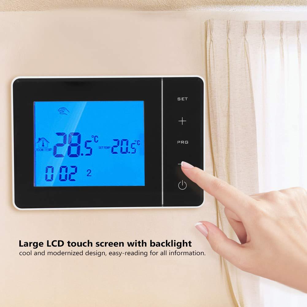 Shanbor Termostato De Calefacci/ón Blanco Termostato Inal/ámbrico Programable Pantalla LCD Digital Controlador De Temperatura Ambiente (Sin WiFi)