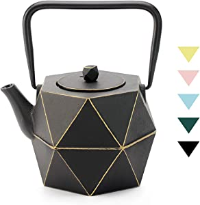 Tea Kettle, TOPTIER Japanese Cast Iron Teapot with Stainless Steel Infuser, Cast Iron Tea Kettle Stovetop Safe, Diamond Design Teapot Coated with Enameled Interior for 40 oz (1200 ml), Black