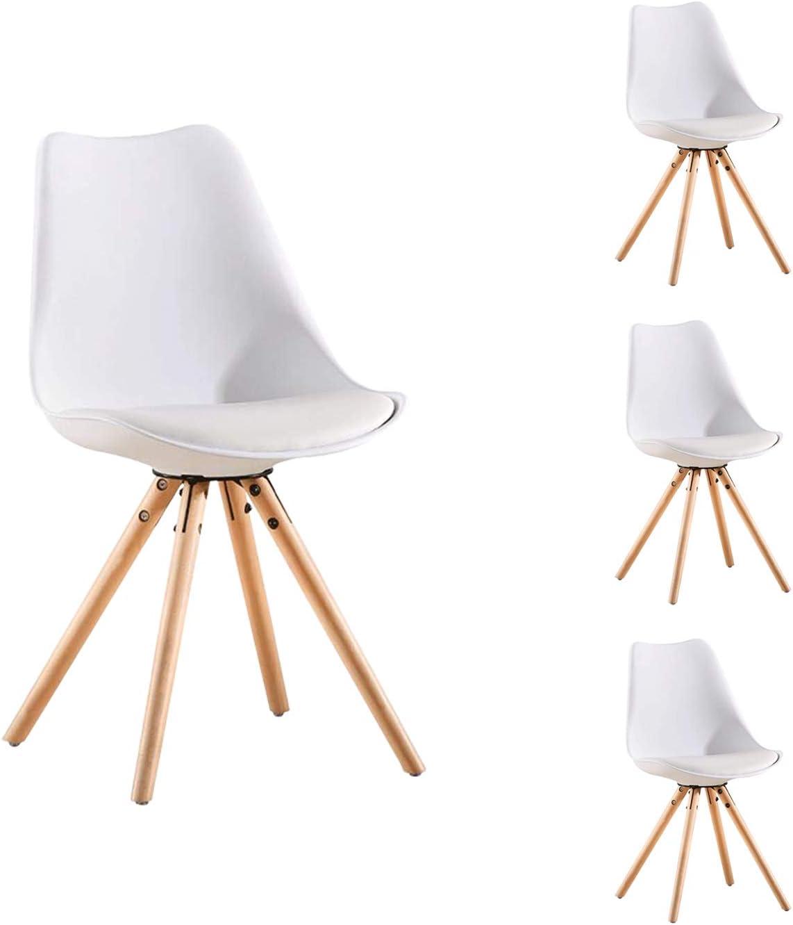 Sedie da Pranzo Nicemoods Gambe in Legno Naturale Sedia Sedile in Plastica per Soggiorno Cucina Camera da Letto Soggiorno Set di 2, Bianco