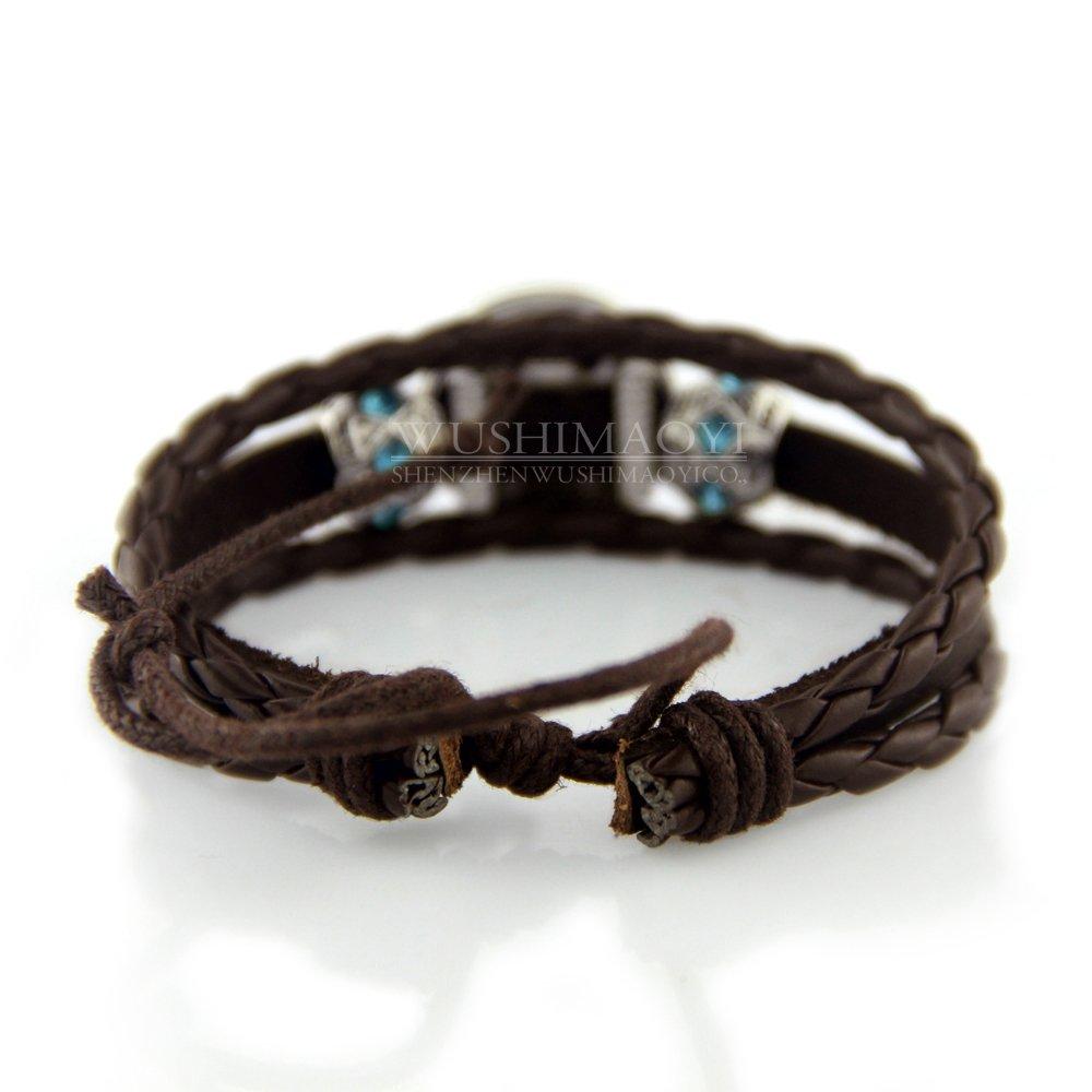 WUSHIMAOYI Triple Moon Goddess Bracelet Triple Moon Goddess Jewelry Braid Leather Bracelet Customize Your Own Style