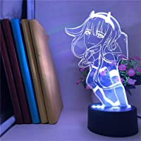 Darling in The FRANXX Night Light 3D Illusion 02 Zero Two Figure Anime Character Table Lamp USB Powered 7 Colors LED…