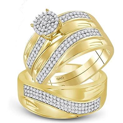 Anillo de compromiso de diamante + juego de anillos de boda para ...