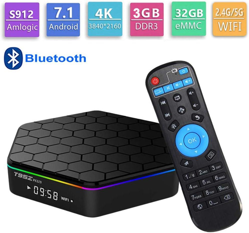 GALEI Andriod 7.1 TV Box, decodificador Bluetooth HD 3GB RAM + 32ROM WiFi 2.4G / 5G, Smart 4K Media Player con Control Remoto: Amazon.es: Hogar