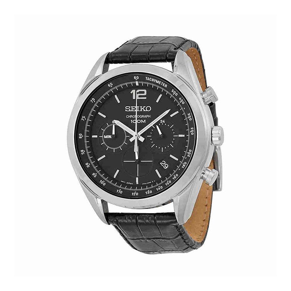 Seiko Chronograph Black Dial Stainless Steel Black Leather Mens Watch SSB097 by Seiko