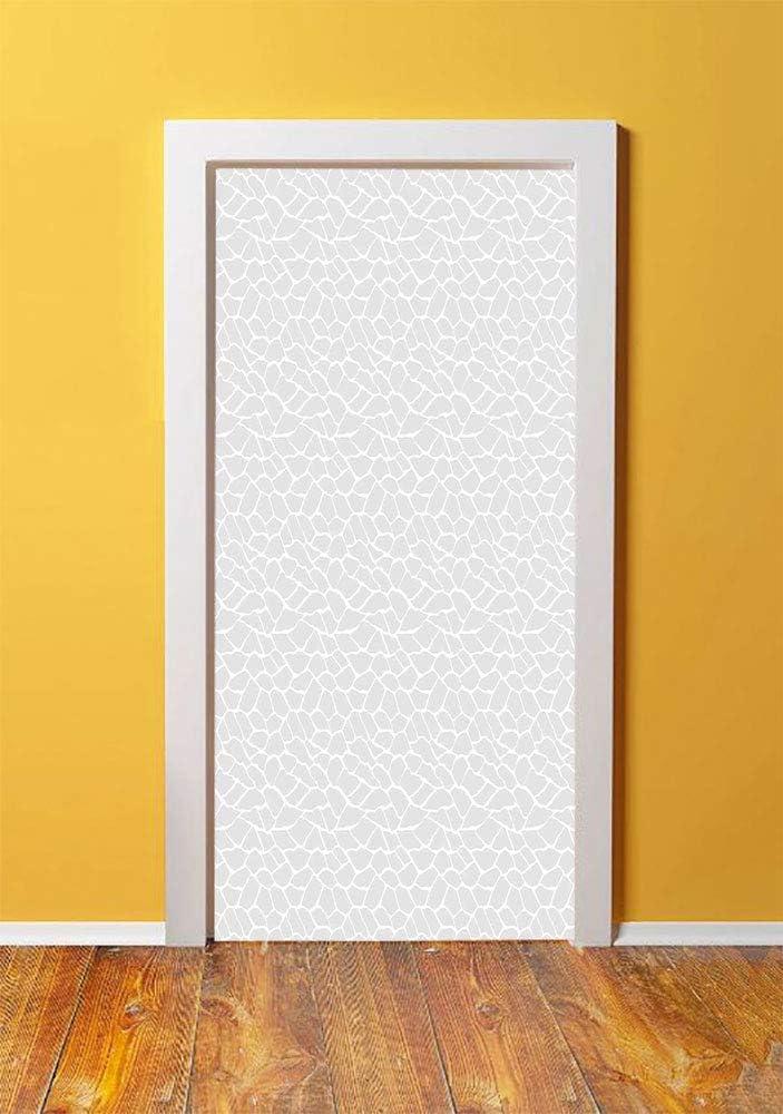Abstract 3D Door Sticker Wall Decals Mural Wallpaper,Formless Fractal Pieces Fragment Lines Mosaic Style Soft Toned Modern Design,DIY Art Home Decor Poster Decoration 30.3x78.4368,Light Grey White