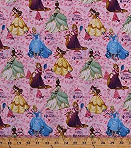 Cotton Disney Princess Cinderella Rapunzel Tiana Belle Castles Tiaras Vines Leaves Fairy Tales Magic Girls Kids Children Listen To Your Heart Pink Cotton Fabric Print by the Yard (63615-c470715)