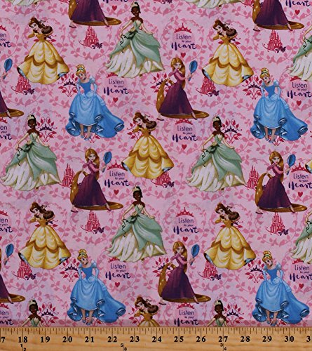 Cotton Disney Princess Cinderella Rapunzel Tiana Belle Castles Tiaras Vines Leaves Fairy Tales Magic Girls Kids Children Listen To Your Heart Pink Cotton Fabric Print by the Yard (63615-c470715)