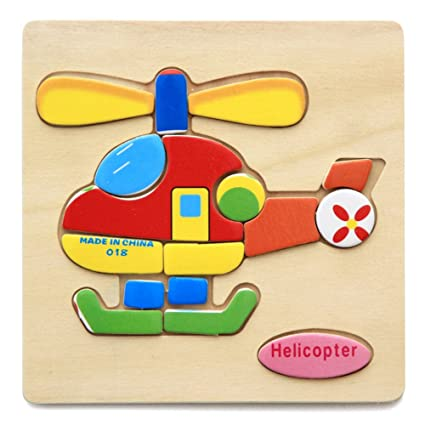 Alician Toy Children Cartoon Wooden Intelligence Jigsaw Puzzle Toy Animal Transportation Cognize Hands Grip Toy Helicopter