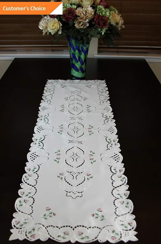 Kaputar 刺繍ファブリック 刺繍 カットワーク ローズバッド プレースマット ランナー | モデル TBLCLTH - 1102 | size 16 ブラック size 16  B07NL5R2CP