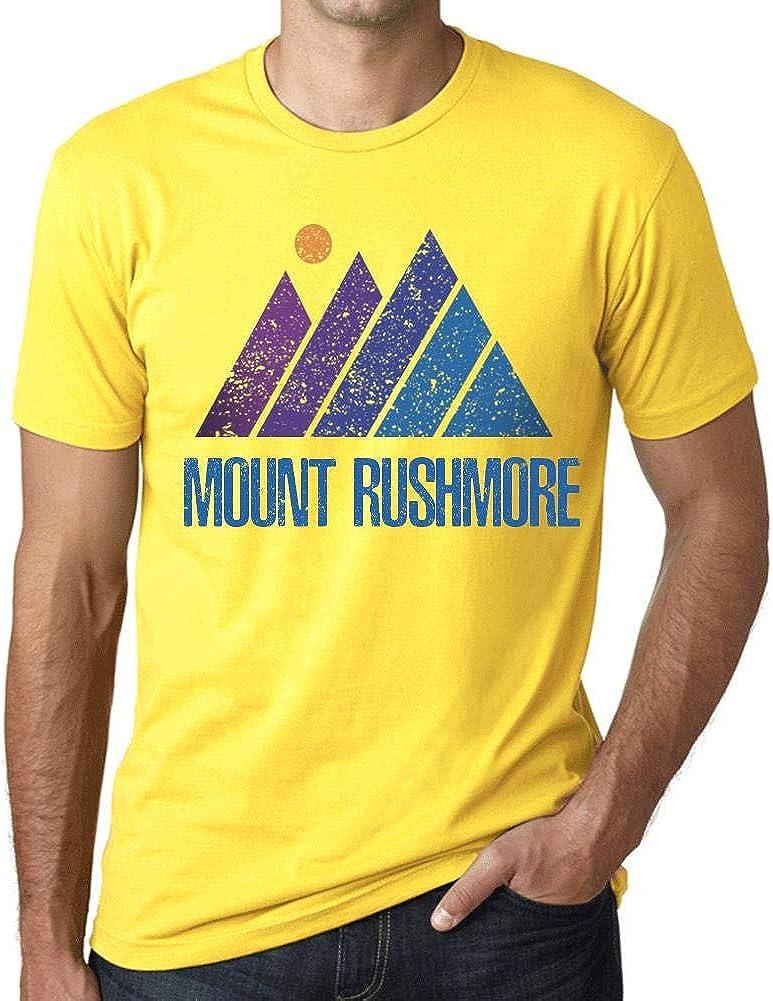 One in the City Hombre Camiseta Vintage T-Shirt Gráfico Mountain Mount Rushmore Amarillo: Amazon.es: Ropa y accesorios
