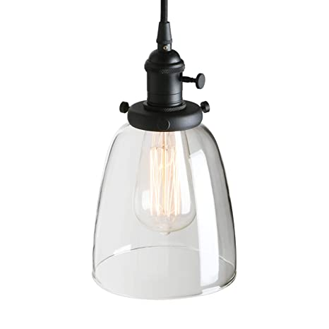 Pathson Industrial Glass Pendant Lighting, Black Vintage Style ...