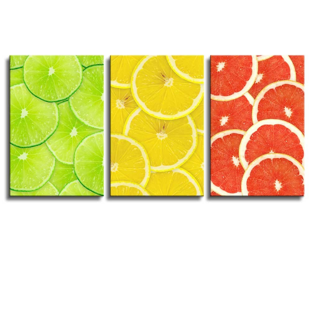 Red Yellow and Green Lemon Slice Wall Decor ation x3 Panels - Canvas ...