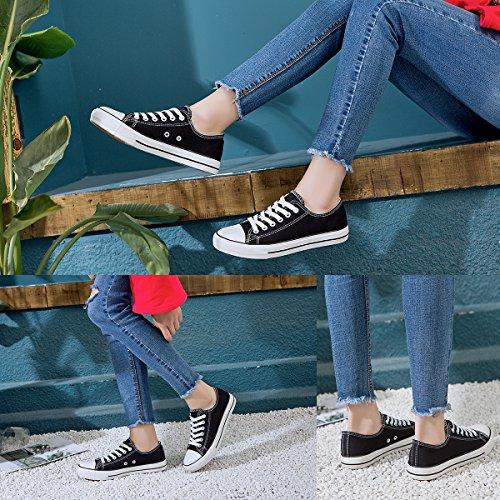 Lace AOMAIS Black1 Shoes Fashion Low Shoes PU Sneaker Womens up Top Canvas Walking 1pS1qOw