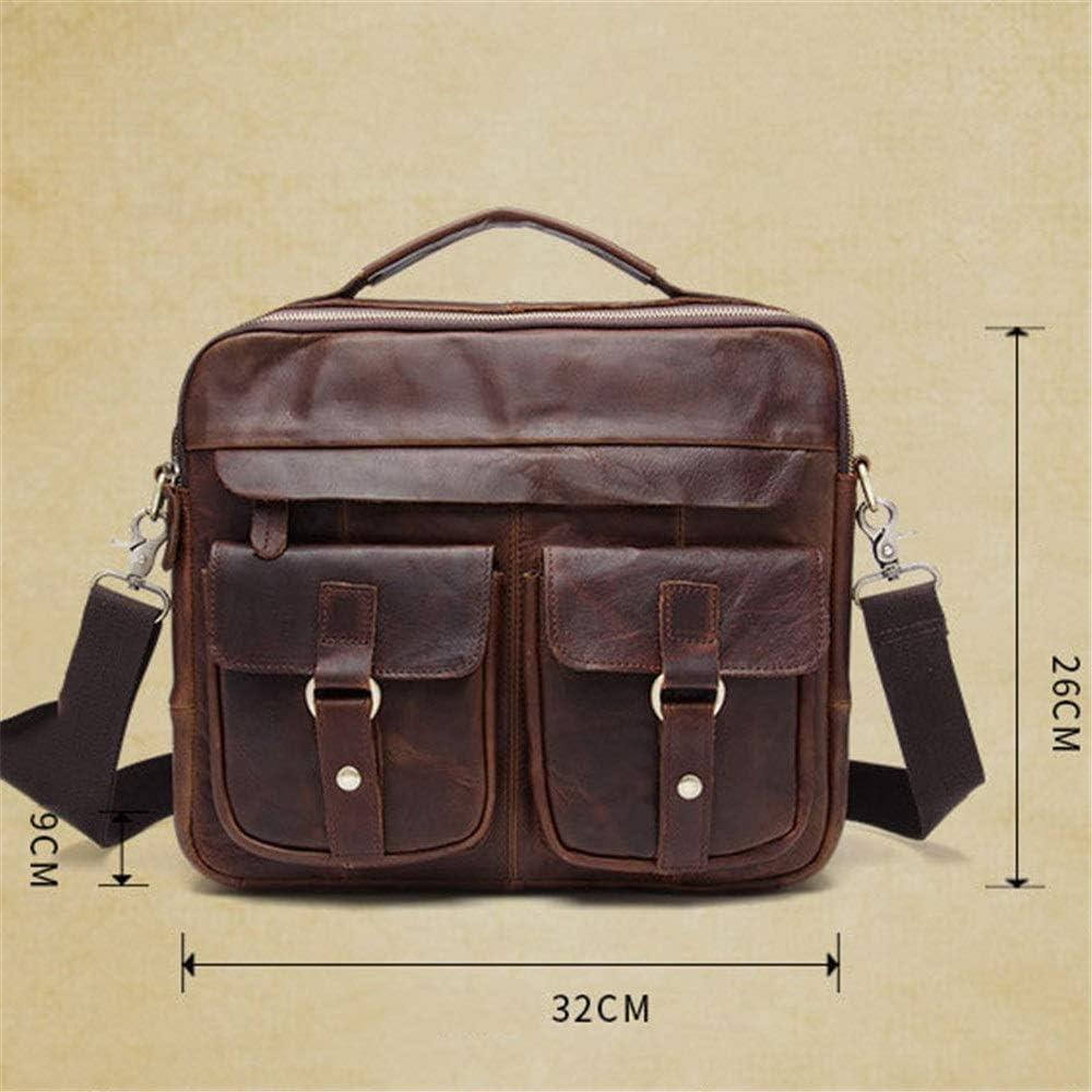 ADPTT Mens Vintage Briefcase Satchel Mens Briefcase Crazy Horse Leather Retro Leather Mens Bag Business Fashion 12 Laptop Tote Bag Color : C3, Size : 32x26x9cm